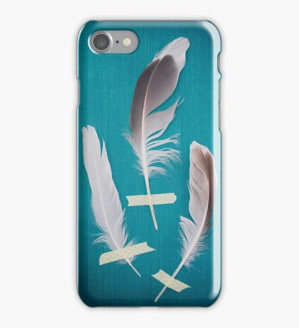 3 Feathers on Teal iPhone Case/Skin
