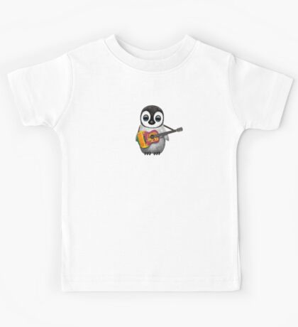 Baby Penguin Playing Sri Lanka Flag Guitar Kids Tee
