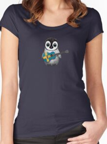 Baby Penguin Playing Swedish Flag Guitar Women's Fitted Scoop T-Shirt