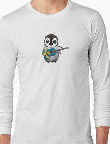 Baby Penguin Playing Swedish Flag Guitar Long Sleeve T-Shirt