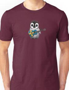 Baby Penguin Playing Swedish Flag Guitar Unisex T-Shirt