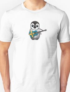 Baby Penguin Playing Swedish Flag Guitar Unisex T-Shirt