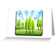 Landscape, Garden, Gardener, View, Abstract, Trees, Lawn Greeting Card