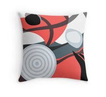 Modern Abstract Salmon, Red, Gray and White Throw Pillow