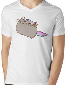 Cute Japanese Rainbow Kawaii Unicorn Cat Holiday Design Mens V-Neck T-Shirt