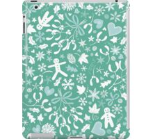 Mistletoe and Gingerbread Ditsy - Ice blue and teal iPad Case/Skin