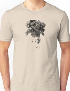 black and white beaded floral sculptural print Unisex T-Shirt