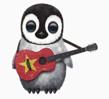 Baby Penguin Playing Vietnamese Flag Guitar T-Shirt