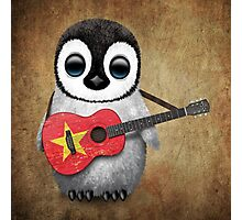 Baby Penguin Playing Vietnamese Flag Guitar Photographic Print