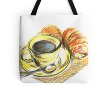 Morning Coffee with Croissants Tote Bag