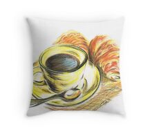 Morning Coffee with Croissants Throw Pillow