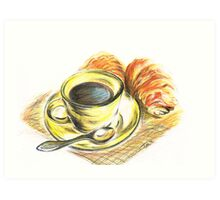 Morning Coffee with Croissants Art Print