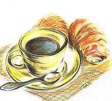 Morning Coffee with Croissants by Teresa White