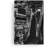 Escalator Black & White Canvas Print