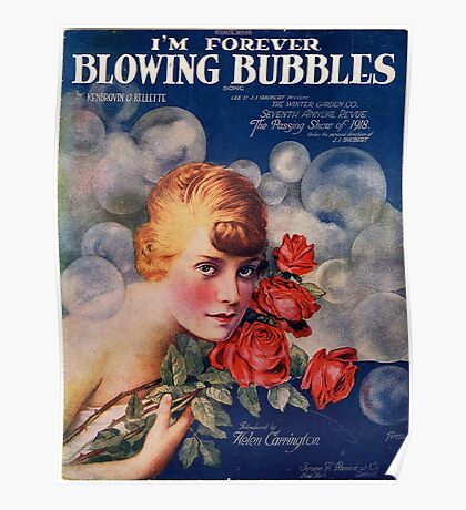 I'm forever blowing Bubbles, Vintage, Poster, Bubbles, Bubble, Football, Soccer, Poster
