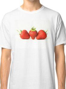 Three Strawberries On White (H) Classic T-Shirt
