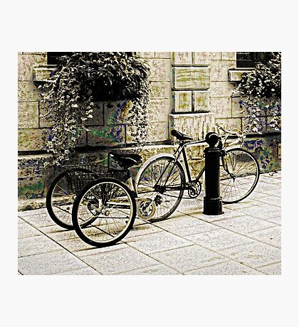 Tandem Bicycle and Flowers Photographic Print