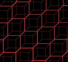 Bright Red Cubes - Black  by Hayden Di Bona