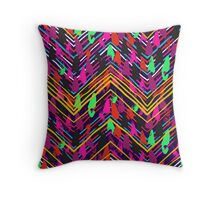 Chevron print with colorful stripes and lines Throw Pillow