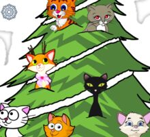 Christmas Cats Tree Decoration Holiday Gift T-Shirt Sticker