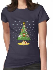 Christmas Dogs Tree Decoration Holiday Gift T-Shirt Womens Fitted T-Shirt