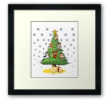 Christmas Dogs Tree Decoration Holiday Gift T-Shirt Framed Print