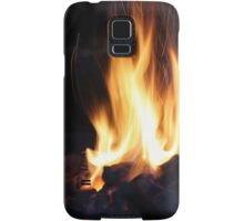 fire in the old stone fireplace Samsung Galaxy Case/Skin