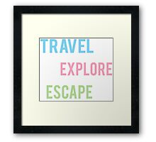 Travel Explore Escape- Pastel 3 Pack Framed Print