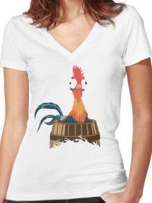 Heihei the Rooster Moana Sea Chicken Fan Women's Fitted V-Neck T-Shirt