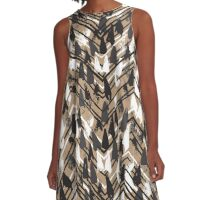 Chevron print with colorful stripes and lines A-Line Dress