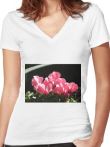 Cyclamen Sunbathing Women's Fitted V-Neck T-Shirt