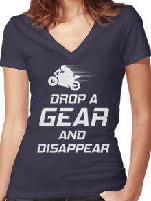 DROP A GEAR & DISAPPEAR | Funny Motorbike Tee T-Shirt  Women's Fitted V-Neck T-Shirt