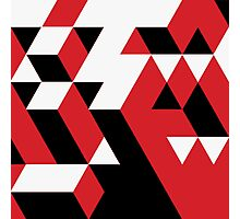 PATTERN VICE TREND CUBE RED BLACK WHITE N.5 Photographic Print