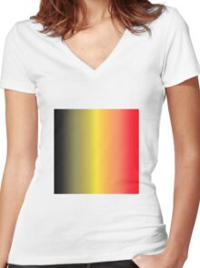 Stripes Gradient - Black | Yellow | Red Women's Fitted V-Neck T-Shirt
