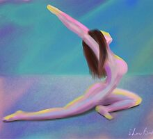 Woman Yoga Pose in Dreamy Pastel Colors by ibadishi