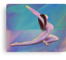 Woman Yoga Pose in Dreamy Pastel Colors Canvas Print