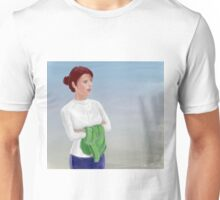 Beautiful Woman Waiting, with Crossed Hands Looking to the Horizon  Unisex T-Shirt