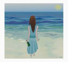 Woman Standing in Front of the Ocean with Bottle of Champagne and a Glass Kids Clothes