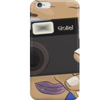 Vecor Art of a Man Taking Photo with a Vintage Rollei Camera iPhone Case/Skin