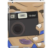 Vecor Art of a Man Taking Photo with a Vintage Rollei Camera iPad Case/Skin
