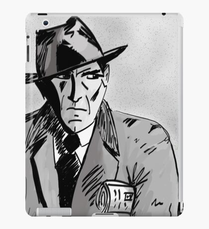 Film Noir Character with Hat, Coat and Paper on a Grey Day iPad Case/Skin
