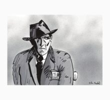Film Noir Character with Hat, Coat and Paper on a Grey Day Kids Clothes