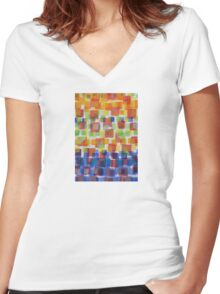 Squares on Solid Red and Blue Foundation Women's Fitted V-Neck T-Shirt