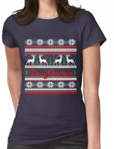 Merry Christmas T-Shirt, Funny Ugly Christmas Sweater Shirt Womens Fitted T-Shirt