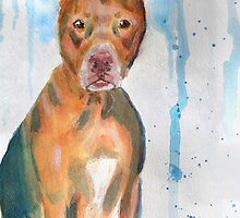 Red Nose Pit Bull Loose Watercolor Portrait by ibadishi