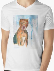 Red Nose Pit Bull Loose Watercolor Portrait Mens V-Neck T-Shirt