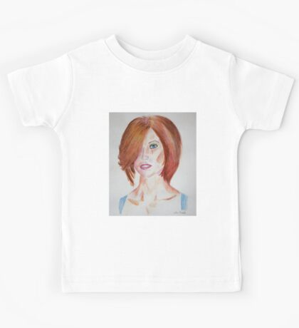Red Haired Beauty with Blue Eyes Watercolor Portrait Kids Tee