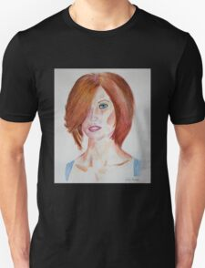 Red Haired Beauty with Blue Eyes Watercolor Portrait T-Shirt