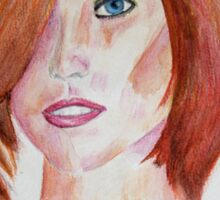 Red Haired Beauty with Blue Eyes Watercolor Portrait Sticker