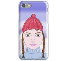 Cute Girl with Big Green Eyes and a Red Hat on a Snowy Scene with her Skis  iPhone Case/Skin
